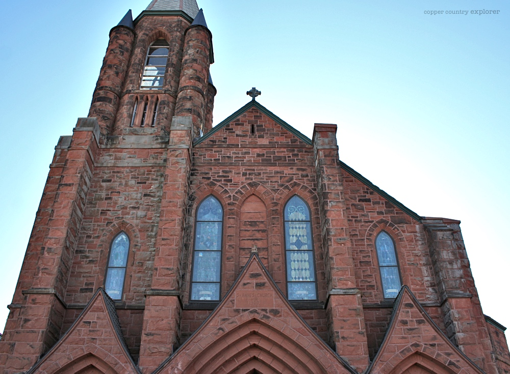 Looking Up at the Front Facade of St. Anne's Church, Calumet